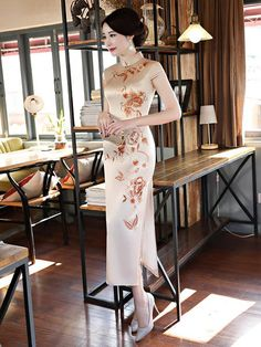 Plants&Flowers Print Stand-collar Long Cheongsam Occasion Casual,Party Material Polyester/Silk Color Same as pictures Size Oriental Dress, Oriental Fashion, Cheongsam Dress, Cheongsam Wedding, Cheongsam Modern, Chinese Gown, Asian Woman, Asian Girl, Ao Dai