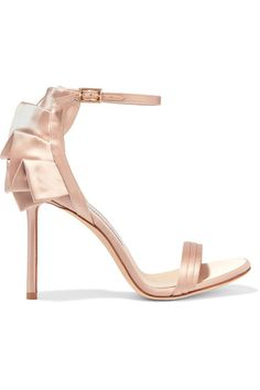 Heel measures approximately 100mm/ 4 inches  Blush satin  Buckle-fastening ankle strap Designer color: Dusty Rose Made in Italy