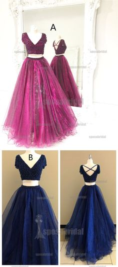 Beaded Blue and Red Two Pieces V Neck Short Sleeves Prom Dresses, Newest Long Ball Gown, PD0578 #promdresses