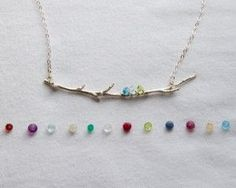 Family Branch Birthstone Necklace - real tree branch that's cast in sterling silver. Add up to 6 birthstones...very unique!