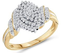 Save $439.00 on Diamond Cluster Ring 10k Yellow Gold Promise Band (1/4 Carat); only $366.00