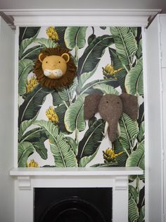 Lion and Elephant felt heads by Fiona walker London. Lion and Elephan Boys Jungle Bedroom, Jungle Book Nursery, Safari Kids Rooms, Baby Elephant Nursery, Jungle Room, Safari Nursery, Baby Boy Rooms, Nursery Themes, Baby Room