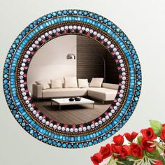 Interio Mosaic Sky Blue Ring Mirror