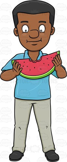 A Dark Haired Man Enjoying A Bite On A Watermelon Slice #bit #bite #bitten #black #blackman #civilian #consumption #darkhair #darkhaired #eating #eats #feeding #food #fruit #human #humanbeing #individual #ingestion #intake #leggings #male #maleperson #man #mortal #munch #nutrient #pants #person #shirt #shoes #single #slice #sliceofwatermelon #snack #somebody #someone #uptake #watermelon #vector #clipart #stock