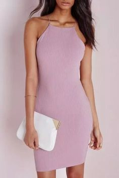Wheretoget - Blush pink halter neck bodycon midi dress with a white and gold clutch