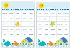 36 Under the Sea Baby Shower Bingo different Cards prefilled with baby gifts words. #undertheseababyshower #babygiftbingocards #babyshowerbingo #etsybabyshop #instantdownloads #2rabbitsprintenjoy