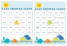 36 Under the Sea Baby Shower Bingo different Cards prefilled with baby gifts words. #undertheseababyshower #babygiftbingocards #babyshowerbingo #etsybabyshop #instantdownloads #2rabbitsprintenjoy