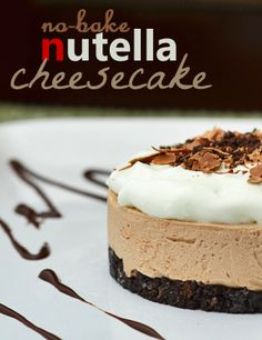 This is a simple No Bake Nutella Cheesecake Recipe.  Love cheesecake?  Love Nutella?  TRY THIS!!