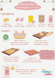 Infográfico - Biscoitio Amanteigado da Vovó (Foto: Gloob) Cute Food, I Love Food, Yummy Food, Tasty, Clean Recipes, Sweet Recipes, Menu Dieta, Portuguese Recipes, Le Chef