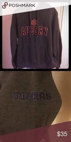 🏈Auburn University hoodie🏈 Excellent condition Auburn University hoodie. Embroidered logo on the front with tigers embroidered on the left sleeve. It is a dark charcoal color. The tag doesn't tell what size it is, but it's definitely a large. Tops Sweatshirts & Hoodies