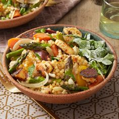 Recipe: Spring Vegetables & Toasted Pearl Couscous with Spicy Halloumi-Style Cheese - Blue Apron Vegetarian Main Dishes, Vegetarian Entrees, Pearl Couscous Salad, Marinated Cheese, Roasted Carrots, The Fresh, Blue Apron, Veggie Recipes, Summer Recipes