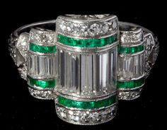 Art Deco Platinum, Diamond and Emerald Ring, Leland Little Auctions