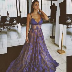 Evening Dress Lace V-neck Prom Gowns with Spaghetti Straps Long Prom Dress