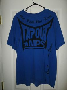 Men s Black  amp  Blue TAPOUT MPS Large Logos Crew Neck Short Sleeve Shirt 68e14ca491b52