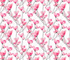 Pink Primrose White Background fabric by art_is_us on Spoonflower - custom fabric