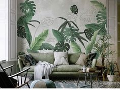 Southeast Asian rainforest plant wall murals wall decor, green leaves shrub wallpaper mural, tropical landscape wallpaper - Projects to Try - Welcome Haar Design Wallpaper Wall, Plant Wallpaper, Rainforest Plants, Open Wall, Cleaning Walls, Tropical Landscaping, Landscaping Ideas, Landscape Wallpaper, Decoration Design