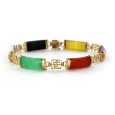 14k Six Multi Color Jade Chinese Symbol Bracelet Is Thought To Bring The Wearer