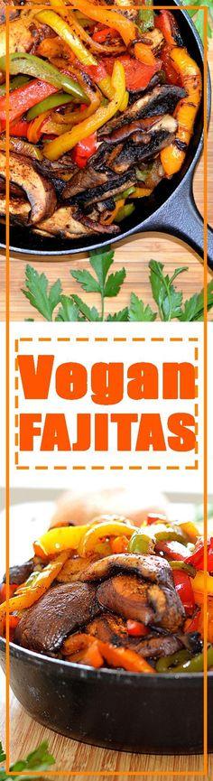 Vegan Fajitas - with homemade seasoning feature portobello mushrooms, red onions & bell peppers. Serve with fresh tortillas on taco night
