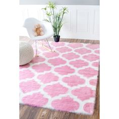 nuLOOM Faux Sheepskin Solid Soft and Plush Cloud Trellis Kids Shag Rug (7' x 9') | Overstock.com Shopping - The Best Deals on 7x9 - 10x14 Rugs