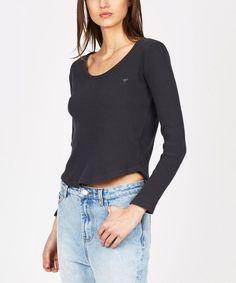 JONI RIB LONG SLEEVE VINTAGE BLACK | Long Sleeve T-Shirts | T-Shirts | Clothing | Shop Womens | General Pants Online