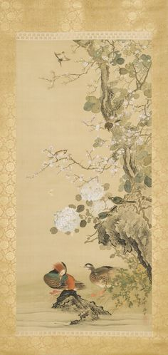 Birds, Mandarin Ducks, and Flowers Okamoto Shūki (Japan, 1807-1862) 19th century
