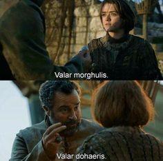 "Arya Stark and Braavosi ship Captain, ""All men must die. All men must serve."" Game of Thrones Season 4"
