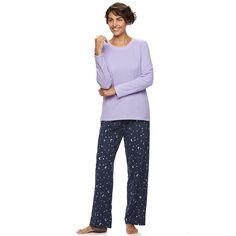Petite Women's Croft & Barrow® Pajamas: Microfleece Pajama Set, Size: