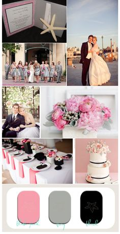 Wedding inspiration board for blush pink, gray, and black wedding. This pale pink wedding color palette for is perfect for a sophisticated resort wedding.