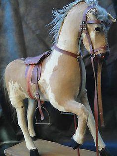 ANTIQUE GERMAN ROCKING HORSE 102ßs-1930s w. LEATHER SADDLE & BRIDDLE WOOD FUR