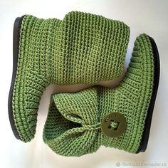 Сапожки Встречают по одежке, уличные зеленые, хлопок - купить или заказать в интернет-магазине на Ярмарке Мастеров | Летние сапожки связаны из 100% хлопка . <br /> …