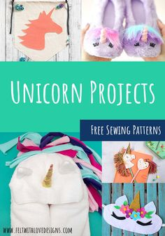Sew an adorable unicorn softie, a felt unicorn, or another magical unicorn project! Puppet Patterns, Quiet Book Patterns, Animal Sewing Patterns, Felt Patterns, Stuffed Animal Patterns, Sewing Patterns Free, Diy Handmade Toys, Handmade Felt, Sewing Projects For Kids
