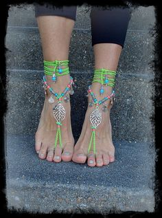 NEON green BAREFOOT sandals LEAF Bikini jewelry Toe por GPyoga