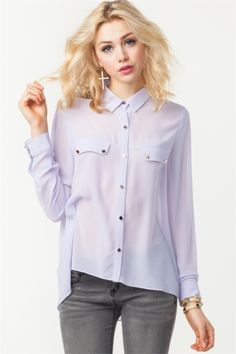 GOLD BUTTON CHIFFON SHIRT