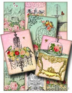 vInTaGe bLiSs  Digital Collage Sheet Instant Download for Paper Crafts Card Decoupage Original Whimsical Altered Art by Gallery Cat CS80 by GalleryCat on Etsy https://www.etsy.com/listing/75995818/vintage-bliss-digital-collage-sheet