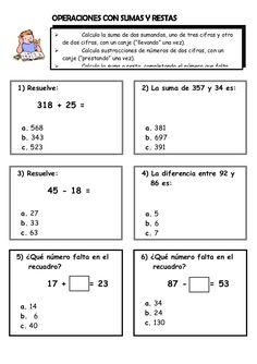 """Calcula la suma de dos sumandos, uno de tres cifras y otro  de dos cifras, con un canje (""""llevando"""" una vez).    Calcula sus..."""
