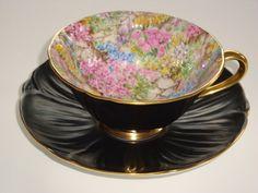 Shelley Rock Garden Black Tea Cup Saucer Duet Oleander Shape Pattern 13415   eBay