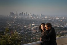 Los Angeles Griffin Observatory engagement session at sunrise by Candice C. Cusic Photography www.CusicPhoto.com