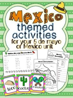 This packet includes activities that are great for a Mexico unit in an elementary classroom! I used these with my First grade students during Cinco de Mayo. It includes math (addition) and literacy (ABC order/word scramble, fill in the blanks, etc) activities. Cute and cultural!