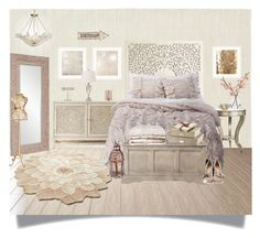 """""""Soft Feminine Bedroom"""" by katrinaalice ❤ liked on Polyvore featuring interior, interiors, interior design, hogar, home decor, interior decorating, Chandra Rugs, Hooker Furniture, Universal Lighting and Decor y Rizzy Home"""