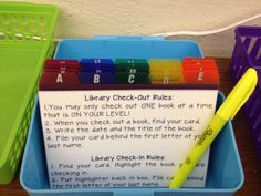 Library Check Out - love this idea, though I might use a binder system instead, as my students LOVE to read from the classroom library! 5th Grade Classroom, Future Classroom, School Classroom, Classroom Libraries, Classroom Ideas, Library Organization, Classroom Organisation, Classroom Management, Library Ideas