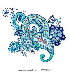 Ornate ornament with Fantastic flowers with paisley and butterflies.Vector illus… Ornate ornament with Fantastic flowers with paisley and butterflies. Paisley Wallpaper, Paisley Art, Paisley Design, Paisley Pattern, Mandala Design, Mandala Art, Pattern Art, Pattern Design, Embroidery Motifs