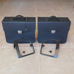 Conjunto manetas de cuero con soportes BMW R 26 - R 69S Motos Bmw, Suitcase, Leather, Briefcase