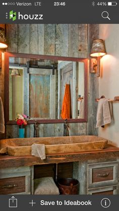 Simple and Rustic Bathroom Design for Modern Home : Lovely Rustic Barn Bathroom Design Rustic Bathroom Designs, Rustic Bathroom Vanities, Eclectic Bathroom, Rustic Bathrooms, Vanity Bathroom, Bathroom Interior, Rustic Vanity, Design Bathroom, Bathroom Cabinets