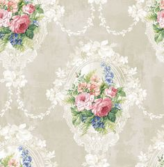 Seabrook wallpaper in Blue, Neutrals, Red RG60707 - The Savvy Decorator