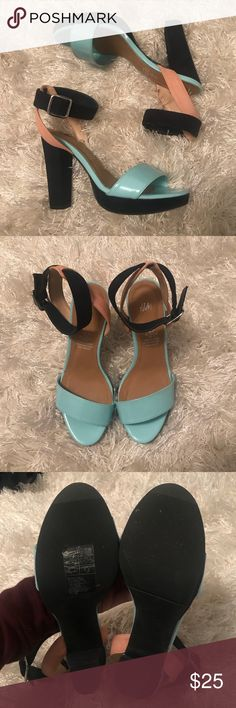 Color Blocked heels Super cute heeled sandals.  Worn once.  US size 5 (EU 36) but fits like a size 6. Very comfortable and easy to walk in. H&M Shoes Heels