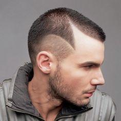 Shaved hair design for men.