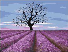 Lavender Field Free Cross Stitch Pattern