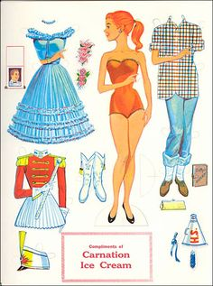 Carnation Ice Cream Vintage brand new paper doll set. Excellent addition to anyone's paper doll vintage series collection. Cardboard Paper, Paper Toys, Vintage Paper Dolls, Vintage Toys, Vintage Paper Crafts, Retro Toys, Vintage Barbie, Paper Dolls Printable, Classic Toys