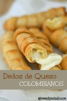 "Click aquí para versión en español If you love fried mozzarella cheese sticks, you're going to love this Colombian version, which Venezuelans also call ""tequeños"". They're usually made with cheese for frying or some sort… My Colombian Recipes, Colombian Cuisine, Cuban Recipes, Colombian Desserts, Empanadas, Snack Recipes, Cooking Recipes, Snacks, Columbian Recipes"