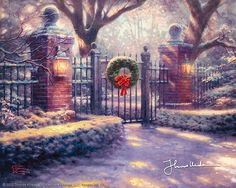 Christmas Gate Thomas Kinkade snowing art for sale at Toperfect gallery. Buy the Christmas Gate Thomas Kinkade snowing oil painting in Factory Price. Christmas Scenes, Christmas Pictures, Christmas Art, Beautiful Christmas, Christmas Lodge, Christmas Landscape, Christmas Canvas, Christmas Store, Christmas Colors